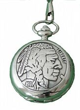 Pocketwatch with Spring loaded lid and chain Native american Western Cowboy