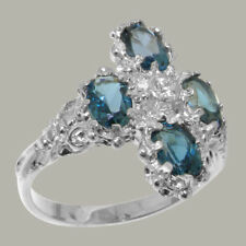 9ct White Gold Cubic Zirconia & London Blue Topaz Womens Cluster Ring