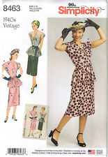 Vtg 40s Retro Tucked Peplum Top Slim Skirt Belt Sewing Pattern Sz 6 8 10 12 14