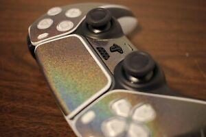PS5 DualSense Controller Skin - Gloss Psychedelic Hyper Color Silver/Rainbow