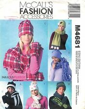 McCall's # M4681 Sewing Pattern: Misses' Hats Scarves And Mittens All Sizes