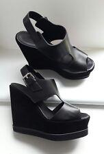 Whistles Black Leather Suede Platform Sandals Shoes Size 4/37 BNWOB RRP £160
