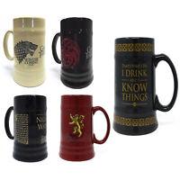 Official  GAME OF THRONES Stein Beer Mug Stark Lannister Targaryen Boxed Gift