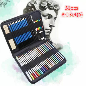 51-Piece Drawing Colored Pencils And Charcoal Sketch Set Kit Water-Soluble H1Z7