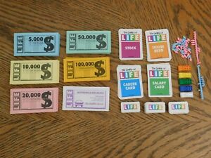Game of Life Replacement Pieces Car Pawns, People Pegs, Play Money, Life Tiles