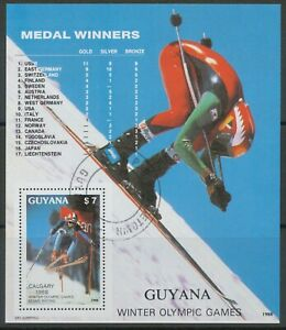 GUYANA 1988, Olympic Winter Games Calgary medalist, superb used MS 7 $