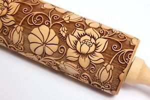 Engraved Rolling Pin Wooden Rolling pin Embossed Dough Roller Laser Cutter