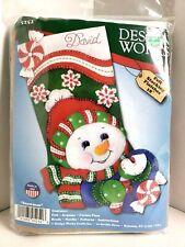 Felt Stocking Kit DesignWorks 5252 Christmas Snowman Made USA NEW HandSewn Craft