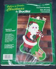 Bucilla Felt Jeweled Christmas Stocking Kit Santa & Candycane Embroidery #32263