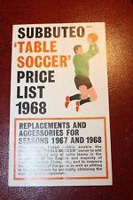 VINTAGE SUBBUTEO TABLE SOCCER FOOTBALL listino prezzi 1968