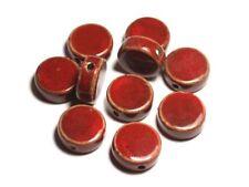 50pc - Perles Céramique Porcelaine Palets 20mm Rouge Bordeaux tacheté