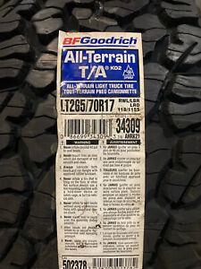 1 New LT 265 70 17 LRD 8 Ply BFGoodrich All Terrain T/A KO2 Tire