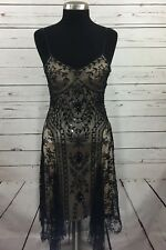 Sue Wong Nocturne 6 Dress Black Beaded Sleeveless Formal Gown Lace Holiday Sz 6