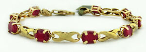 GENUINE 7.56 Cts RUBIES BRACELET 10k GOLD * Brand New with Tag ** FREE SHIPPING