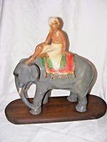 LARGE VINTAGE CHALKWARE PLASTER POTTERY MAHOUT ELEPHANT & RIDER ON PLINTH