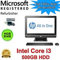 "HP Pro 4300 All-in-One Desktop computer 20"" i3, 4GB RAM 500GB HDD Win 10 web cam"