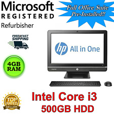 "HP Pro 4300 All-in-One Desktop computer 20"" i3, 4GB RAM 500GB HDD Win 10 web cam"