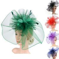 Fascinator Hat Flower Feather Mesh Kentucky Derby Party Hairband for Women DZ