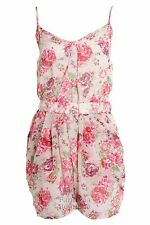 Ladies Black White Floral Print Strappy Stretch Summer Women's Chiffon Playsuit