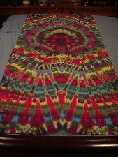 Hand-dyed Tie Dye Wallhang Tapestry - Red Blood Spider Swirl W/ Curtain Loops