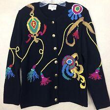 Ugly Christmas Sweater Black Lg Wool Blend Ornaments Vtg 1992 Susan Bristol