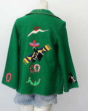 vintage MEXICAN souviner tourist EMBROIDERED wool JACKET applique ROCKABILLY vlv