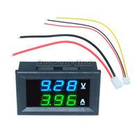 DC 100V 10A Voltmeter Ammeter Blue + Green LED Dual Digital Volt Amp Meter Gauge