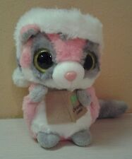 "Aurora World YooHoo Raccoon Pink Gray Mask Plush 6"" Musical Christmas Carols"