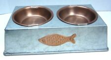 Elevated Cat Stand Food and Water Stainless Steel Bowls Set  Brand NEW 6.5 Oz