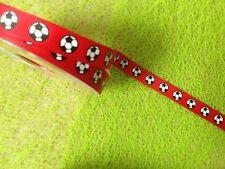 1m X 12mm Grosgrain Footbal Ribbon Red & Black Craft Cake Hair Gift Card