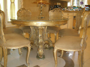 OFFER,STUNNING 7PC ANTIQUE FRENCH ROUND DINING ROOM GILT CARVED TABLE CHAIRS SET