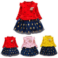 1-5T Toddler Kid Baby Girl Casual Party Patchwork Tulle Long Sleeve Dress Outfit