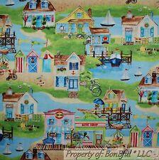 Boneful Stoff FQ Baumwolle Quilt blau Himmel Wasser Strand Scenic Segelyacht Haus Ozean
