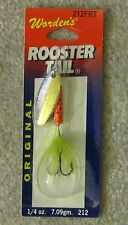 wordens rooster tail lure new 1/4oz 212frt orange green