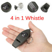 Mini Outdoor 4 In1 Survival Whistle Compass Magnifying Thermometer Keychain S nw