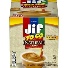 Jif To Go Natural Creamy Peanut Butter 36 Snack Cups 1.5 Ounce Each 3.6 Lbs