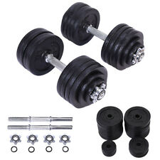 2 x 52.5 LB Weight Dumbbell Set Adjustable Cap Gym Barbell Plates Body Workout