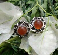 Carnelian Stud Earrings 925 Sterling Silver Antique Stud Earrings Floral Earring