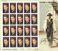 Scott #4421 Legends of Hollywood Gary Cooper postage Sheet of 20-44 cent stamps