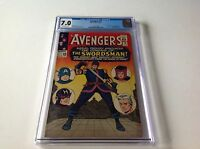 AVENGERS 19 CGC 7.0 ORIGIN HAWKEYE 1ST SWORDSMAN STAN LEE STORY MARVEL COMICS D