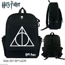 Harry Potter The Deathly Hallows Backpack Schoolbag Canvas Zip Laptop Bag Gift