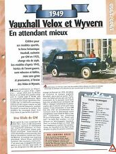Vauxhall Velox et Wyvern 1949  United Kingdom Car Auto FICHE FRANCE