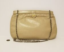 Vintage Tan Leather Gold Lion Face Chain Strap Purse Clutch Bag
