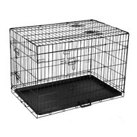 NEW 36 Inch Foldable Steel Frame Pet Dog Cage Crate Black with 3 Access Doors