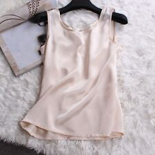 Lady Sexy 100% Pure Silk Tank Sleeveless Top Knit Vest Singlet Blouse Soft Short