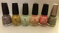 6 NEW FULL SIZE CHINA GLAZE NAIL POLISH SILVER GOLD GREEN PINK GLITTER LOT T
