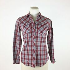 Vintage 1960s Red Plaid Western Shirt Snap Front Long Sleeve Rockabilly