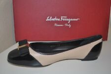 NIB Salvatore Ferragamo VARINA Bow Zigzag Ballet Flat Shoe Nude Black 7C - 6.5