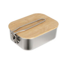 New listing Stainless Steel Bamboo Wood Lid Lunch Box Portable Picnic Outdoor Camp Supplies