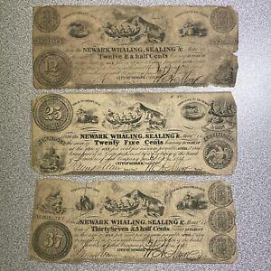 "3 Newark, New Jersey ""Whaling, Sealing & Manufacturing"" 12 1/2, 25, 37 1/2 Notes"
